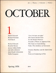 October, No. 1 (Spring 1976), cover.