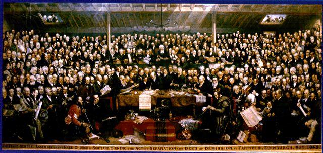 "David Octavius Hill, ""The First General Assembly of the Free Church of Scotland, Edinburgh, May 1843,"" oil painting, 1866."