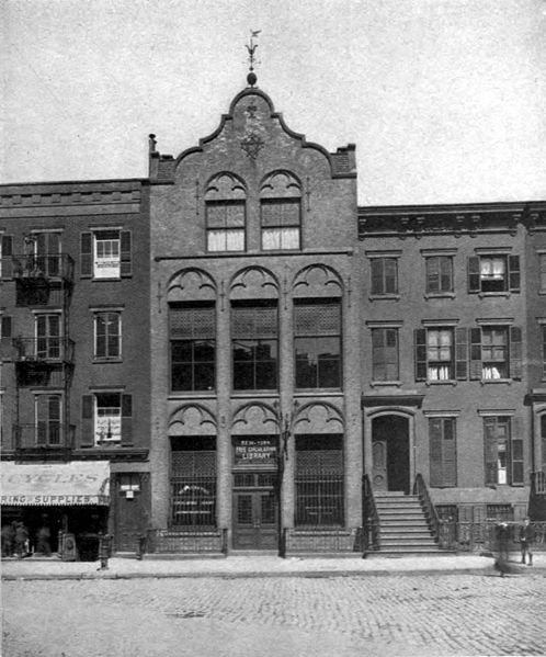 New York Free Circulating Library, Jackson Square Branch, exterior, circa 1890. Photographer unknown.