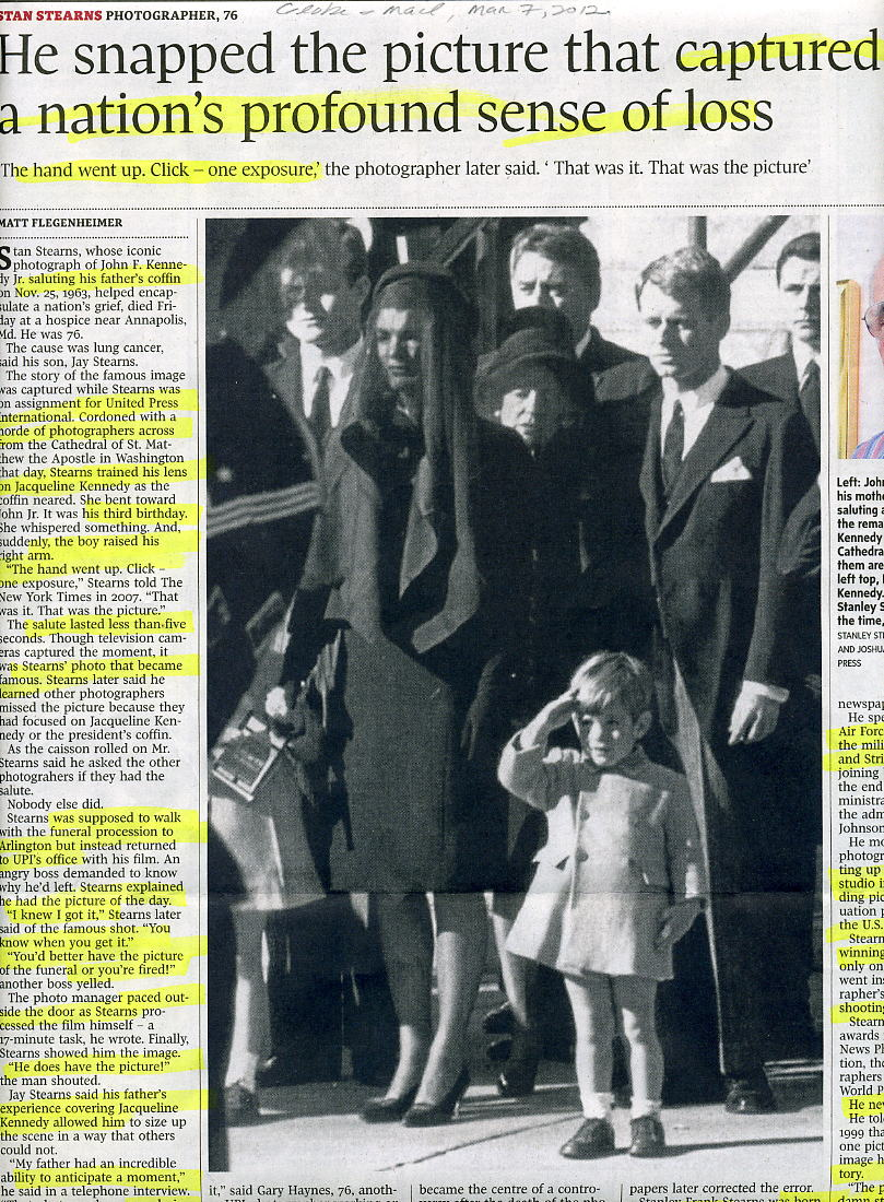 Obituary of photographer Stan Stearns, Toronto Globe & Mail, March 7, 2012.