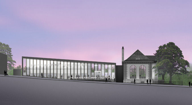 Architect's rendering, Stapleton Library renovation, courtesy NYC Department of Design and Construction.