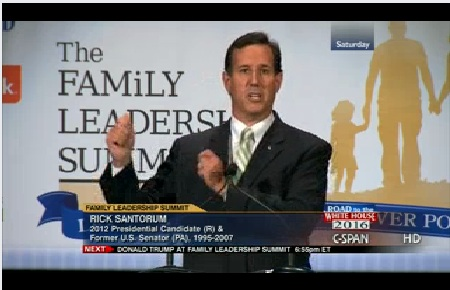 Rick Santorum, Family Leadership Summit, 8-10-13, screenshot.