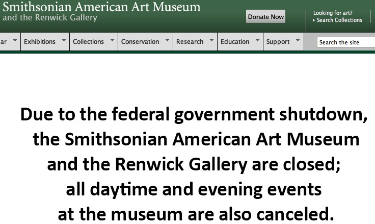 Smithsonian American Art Museum website, screenshot, 10-5-13.