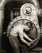 "Lewis Hine, ""Powerhouse Mechanic,"" 1920."