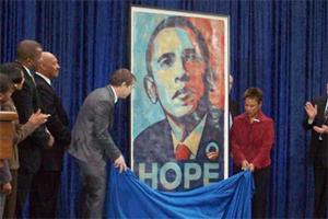 "Shepard Fairey, ""Hope,"" National Portrait Gallery, installation, 2009. Photo courtesy National Portrait Gallery."