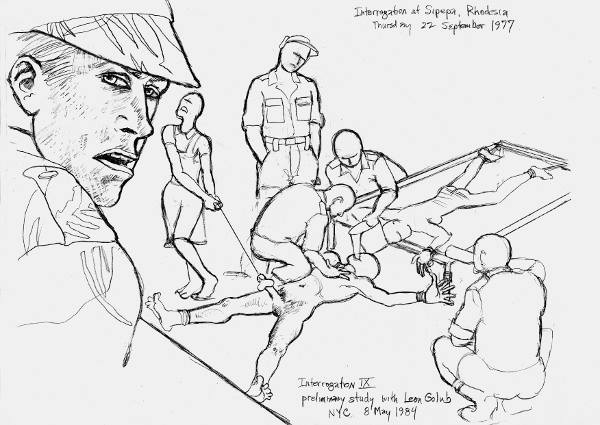 "Leon, Golub, study for ""Interrogation IX,"" 1984."