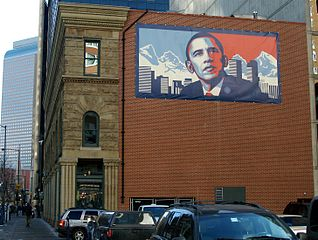 Building in Denver, CO, with Shepard Fairey poster of Obama, 2009. Photo by David Shankbone, courtesy Creative Commons.