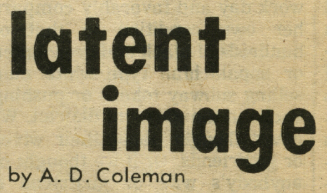 """Latent Image"" column logo, Village Voice, ca. 1968."