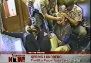 Humboldt County police officers apply cotton swab soaked in pepper spray to the eyelids of activist, fall 1997. Screeshot from police video.