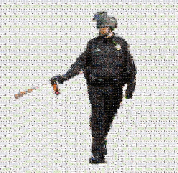 Mosaic image composed of many remixed Pepper Spraying Cop images, Occupy Oakland Hackathon 2012.