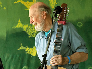 Pete Seeger at age 88, at the Clearwater Festival , June 16, 2007. Photograph by Anthony Pepitone, courtesy Creative Commons.