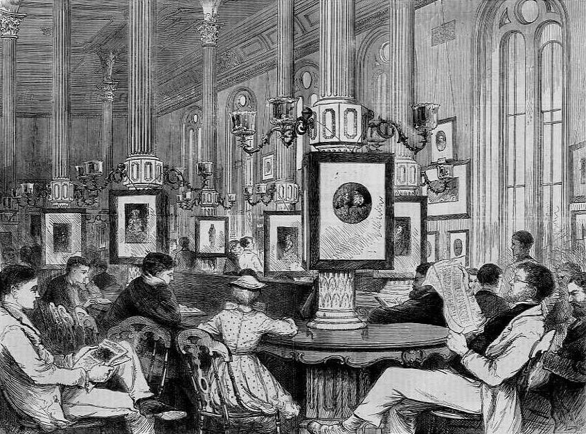 Reading-Room of the Boston Public Library,  J. J. Harley, engraving, 1871