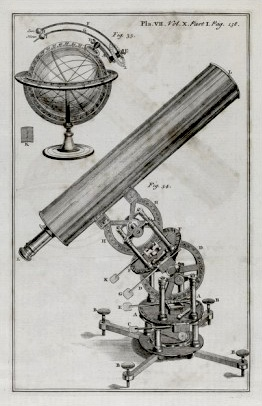18th-century astronomical equipment, engraving