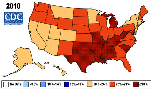 Centers for Disease Control and Prevention, obesity map, 2010