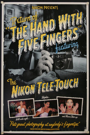 "Nikon One-Touch Camera, ""Return of The Hand with Five Fingers,"" poster, ca 1986"