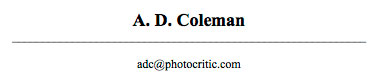 A. D. Coleman letterhead