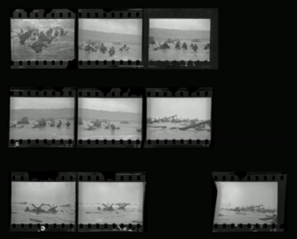 Robert Capa, D-Day frames from 6 June 1944. Courtesy Wikimedia Commons.