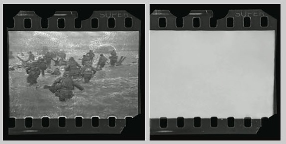 "Robert Capa, forged ""ruined"" D-Day negative on right, original on left (1)"