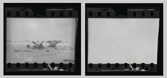 "Robert Capa, forged ""ruined"" D-Day negative on right, original on left (4)"