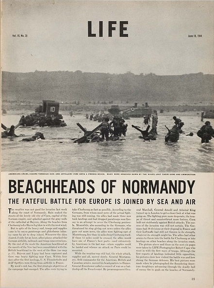 """Beachheads of Normandy,"" LIFE magazine feature on D-Day with Robert Capa photos, June 19, 1944."