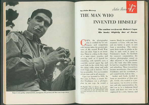 "John Hersey, review of Capa's memoir in ""1947: Magazine of the Year,"" opening spread."