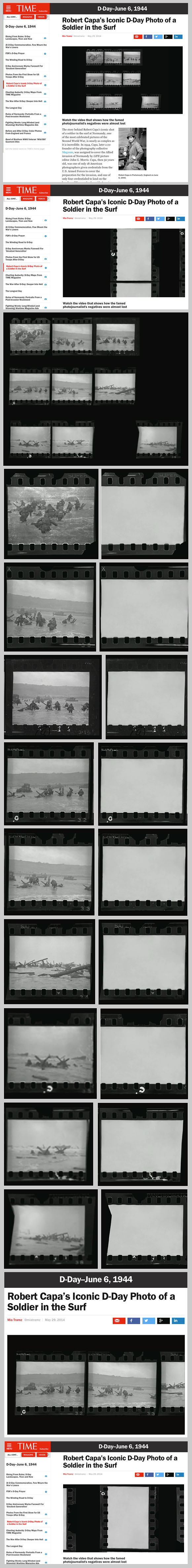 Robert Capa, fake D-DAY negatives from 2014 TIME video. Comparison screenshots and composite design by Rob McElroy.