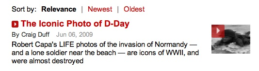 Craig Duff, Capa D-Day video, TIME website link, screenshot, 2014-06-29.