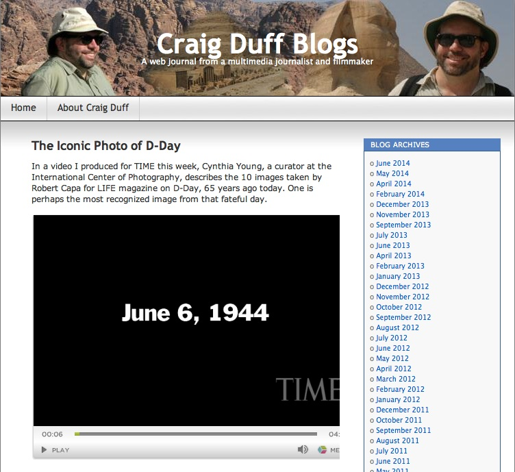Craig Duff Blogs. Capa D-DAY TIME video post, dated June 6, 2009, screenshot.