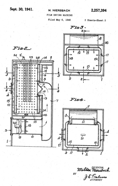 Film-drying cabinet design, patent diagram, 1940.