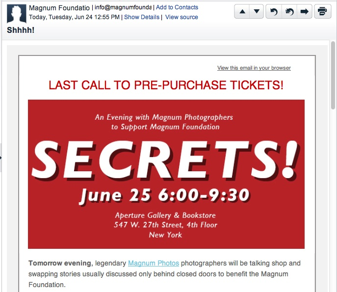 "Magnum ""Secrets"" event, June 25, 2014, email announcement."