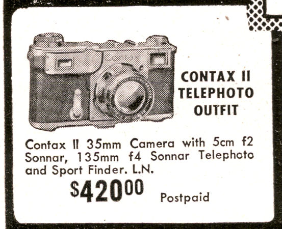 Peerless Camera Store, Contax II ad, ca. 1940.