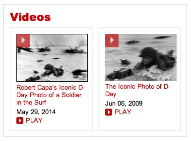 Robert Capa on D-Day, two videos, TIME website, screenshot 2014-06-29.