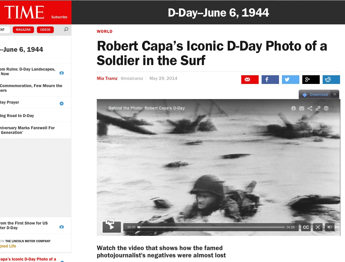 "TIME, ""Behind the Picture: Robert Capa's D-Day"" (2014) screenshot."