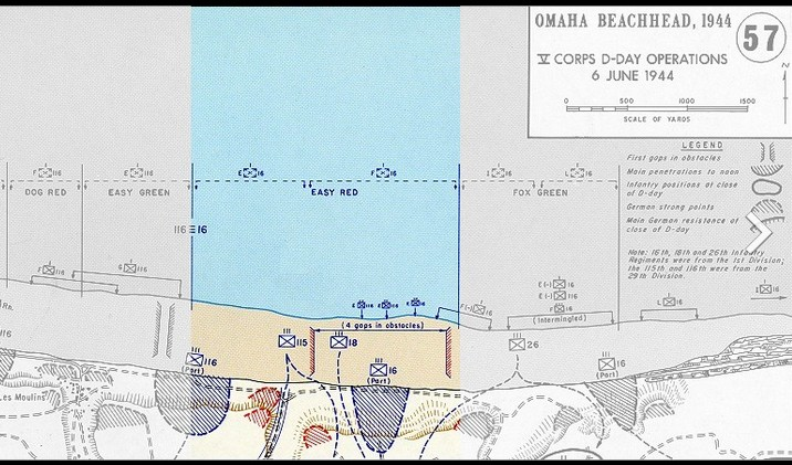 U.S. Army map showing Easy Red sector, Omaha Beach, where Capa landed on D-Day.