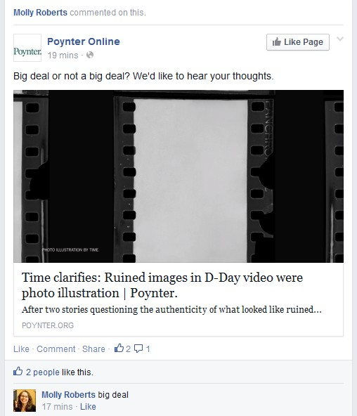 Poynter Institute Straw Poll on TIME magazine's  2014 Robert Capa D-Day video, screenshot.