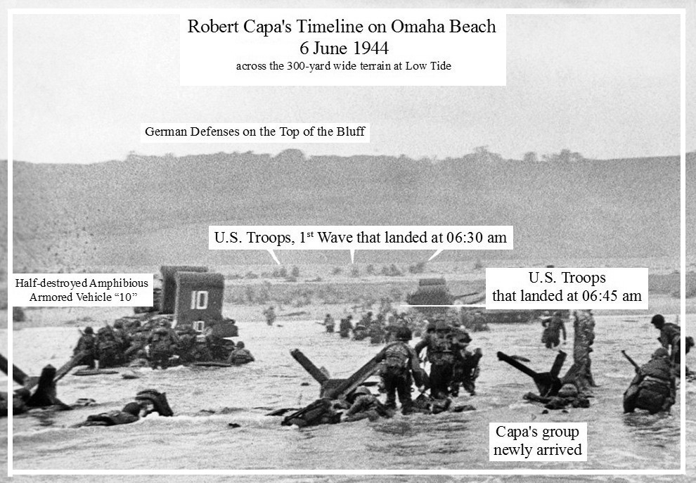 Capa detail: CS frame 4, neg. 32 – Robert Capa at Omaha Beach on D-Day, 6 June 1944.