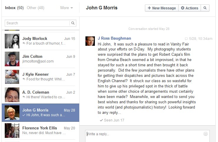 J. Ross Baughman, Facebook note to John Morris, 5-28-14.