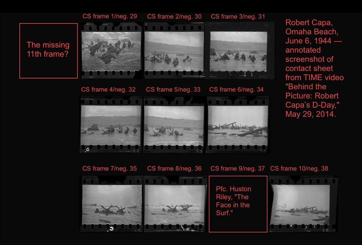 Robert Capa, D-Day images from Omaha Beach, contact sheet, screenshot from TIME video (May 29, 2014), annotated.