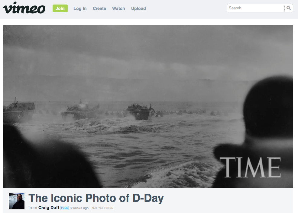 "Craig Duff, 2009 TIME video ""The Iconic Photo of D-Day,"" screenshot."
