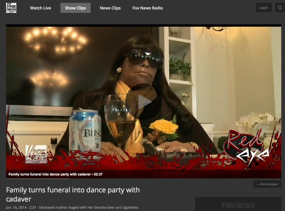 Miriam Burbank Funeral, New Orleans, June 12, 2104. Screenshot, Fox news story, June 16, 2014.