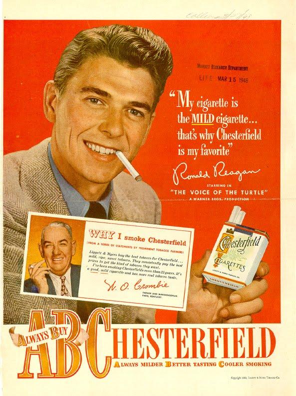 Chesterfield ad, Ronald Reagan, LIFE magazine, 1948