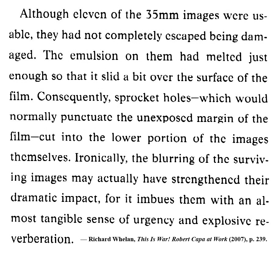 "Richard Whelan on Robert Capa's D-Day negatives, ""This Is War!"" (2007), p. 239."