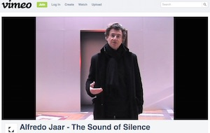 "Alfredo Jaar explains ""The Sound of Silence,"" 2011 video, screenshot"