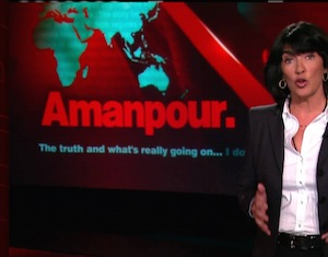 Christiane Amanpour with CNN logo