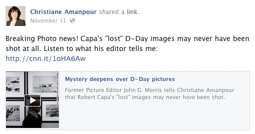 Christiane Amanpour, John Morris and the Capa D-Day story, Facebook, 11-11-14