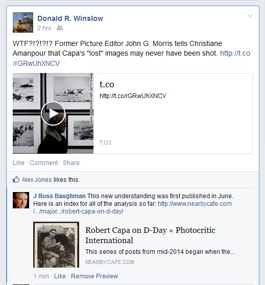 NPPA editor Donald R. Winslow, Facebook response to CNN interview with John Morris, 11-14-14