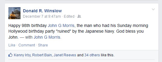 NPPA editor Donald Winslow uses Facebook to wish John Morris a happy birthday on December 7, 2014 (in advance of the major story on Capa in the magazine by Bruce Young)