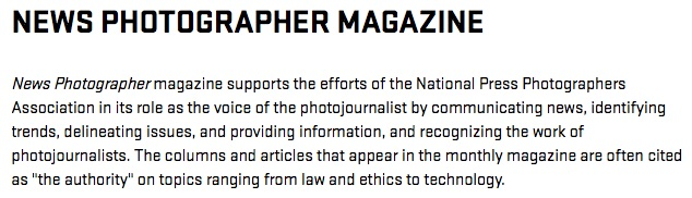 "NPPA ""News Photographer"" magazine self-description, screenshot"