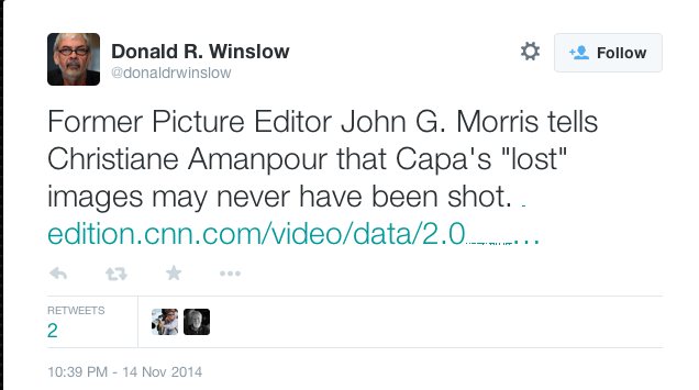 Donald Winslow, Twitter comment, 11-14-14