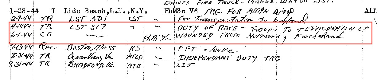 U.S. Navy Pharmacist Mate Joseph V. Chatigny, service record, June 6, 1944